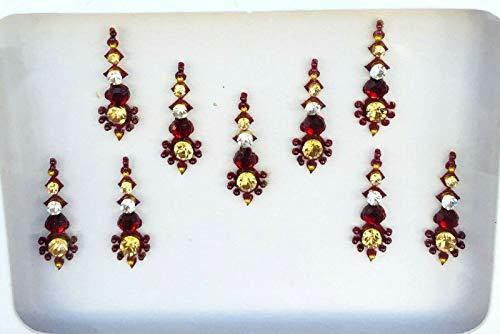BB160 Rouge Bindi Or Cristal Perle Bindi Tattoo autocollant de mariage Forehead Tikka Indian Fancy Party arabe face Gem Body Art