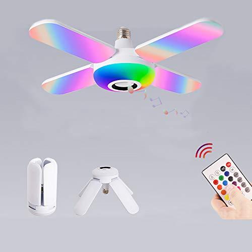 Lámpara De Techo E27 Con Altavoz Bluetooth, Lámpara De Techo LED Lámpara De Techo Con Música Con Cambio De Color RGB, Con Control Remoto, Regulable Y Plegable De Cuatro Alas, Lámpara De Ventilador