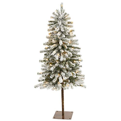 4ft. Flocked Alpine Christmas Artificial Tree with 100 Lights and 260 Bendable Branches