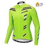 Weimostar - Maillot de Ciclismo para Hombre (Forro Polar), Hombre, Color Verde, tamaño XL = Chest 42.5-45.6'