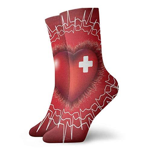 SARA NELL, novedad, divertido, loco, calcetín de tripulación, corazón, electrocardiograma, estampado, deporte, calcetines deportivos, 30cm de largo, calcetines de tubo personalizados, calcetines de re