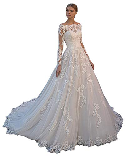 Off the Shoulder Appliques Lace-up Ball Gown Wedding Dress 2019 (Us 16w) Ivory by Tbdress