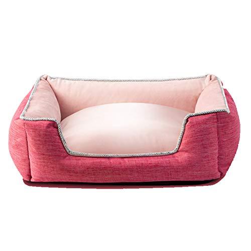 MYYLY Cama Rectangular para Mascotas, Utilizada como Colchón Cálido Interior para Gatitos Y Cachorros, Cama/Perrera Suave Y Lujosa De Felpa Dos En Uno,Red-S