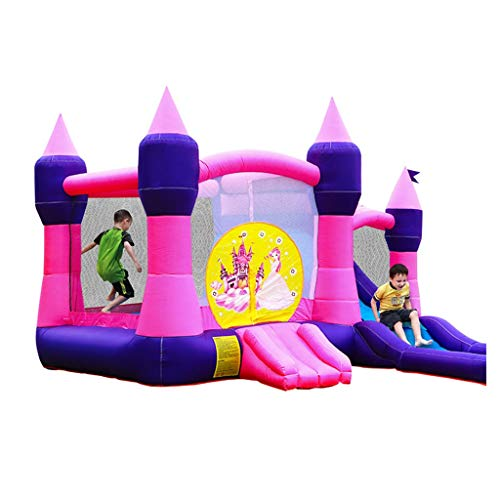 Bouncy Castles Sports Toys Home Inflatable Park Outdoor Water Slide Indoor Bounce Bed Toy Boy And Girl Playground Kindergarten Trampoline (Color : Pink, Size : 350 * 500 * 260cm)