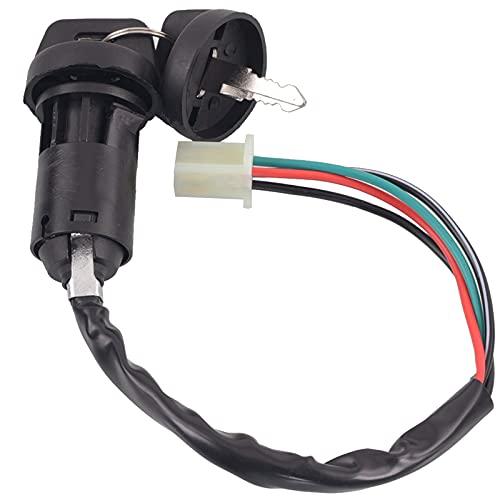 Interruptor de bloqueo de llave de inicio, interruptor de llave de encendido con enchufe de 4 cables, cerradura de encendido universal para motocicleta, llave de bloqueo impermeable