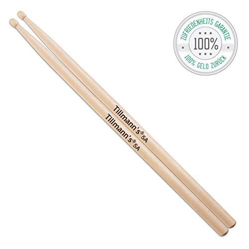 Drumsticks 5A | Aus Holz | 1 Paar klassische Schlagzeug Sticks | Liegen angenehm in den Händen| Drumsticks für Erwachsene & Kinder | Premiumqualität von Tillmann's Deutschland