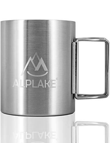 ALPLAKE® Doppelwandige Edelstahl-Tasse, Metall-Becher, Klapp-Griff, 250 ml