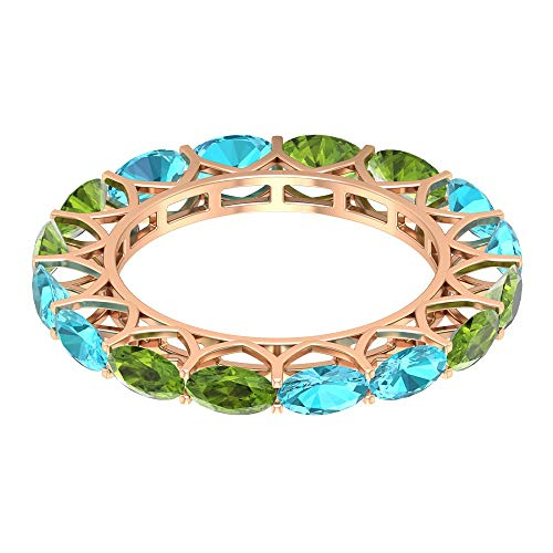 Anillo de eternidad apilable, 2,2 quilates 5 x 3 mm anillo suizo de topacio azul, anillo de peridoto ovalado de 2,2 quilates, anillo de boda nupcial, 18K Oro rosa, Size:EU 64