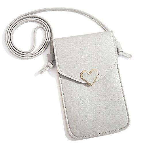 Frauen dekorative herzförmige Umhängetasche, Mini-Touchscreen-Handy-Umhängetasche, verstellbare PU-Leder-Handy-Umhängetasche. (weiß)