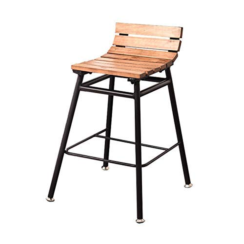 AYU Patio Dining Chair,Industrial Bar Stool,Counter Height Chairs, Metal Frame Pine Wood Top,Seat Height 23.6inch