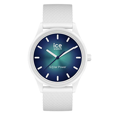 Ice-Watch ICE Solar Power Abyss - Reloj para Unisex Adulto con Correa de silicona, Blanco, 019028 (Medium)