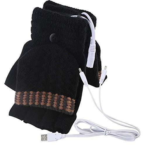 Cocila Unisex USB beheizte Fäustlinge Herren Damen Strickhandschuhe Winter Warm Riding Cycling Drove Handschuhe Freizeithandschuhe ohne Finger(Schwarz,One size)