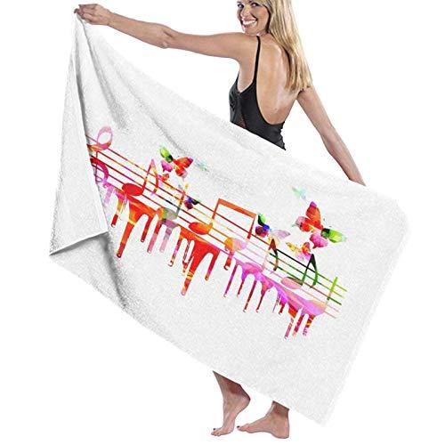 SUDISSKM Toalla de Playa de Playa de Microfibra Grande,Obras de Arte Coloridas Notas Musicales Clef Compositor Orquesta Decorativo Clásico,Toalla de Baño Suave de Secado Rápido 130x80CM