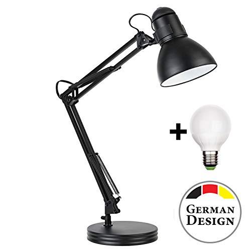 Retro Arbeitsplatzlampe Leselampe Schreibtischlampe Tischlampe Arbeitsplatz-leuchte Schreibtisch-Leuchte Nachttischleuchte mit Gelenk-Arm aus Metall inkl. LED Glühbirne