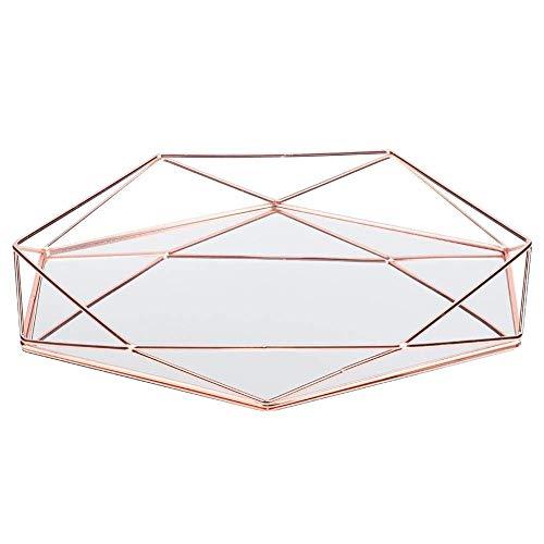 Bandeja de Almacenamiento Tridimensional de Escritorio Hexagonal Decorativa Dorada, Espejo de baño, Caja organizadora de cosméticos de Metal para el hogar-Rose Gold