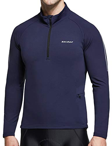 BALEAF Men's Thermal Fleece Bike Jersey Cycling Running Pullover Half Zip Long Sleeve Bicycle Jacket Winter Pockets Navy Blue L