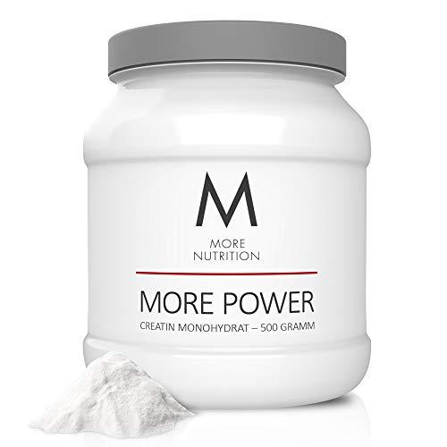 MORE NUTRITION More Power Creatin Monohydrat für jedes Training (MHD 13.03.21) – 500g Reines Creapure Kreatin-Pulver (Geschmacksneutral) für schnelleren Muskelaufbau, mehr Kraft und Fokus