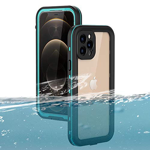 Waterproof Case for iPhone 12 Pro Max, ZERMU Shockproof IP68 Underwater Full Body Protection Crystal Transparent Built-in Screen Protector Underwater Waterproof Case for iPhone 12 Pro Max 6.7' 2020