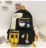 UKKO Mochila 5Pcs / Set Mochilas Escolares De Lona Mujeres Encantadoras Bolsas para Las Bolsas De Libros De Las Chicas Adolescentes Estudiantes Viajar Bolsas De Hombro-Black Only One