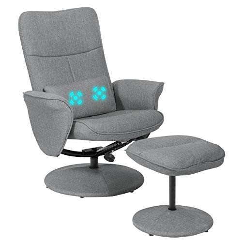 Giantex Swivel Recliner Chair and Ottoman Set w/Massage Lumbar Cushion, Adjustable Backrest, Fabric Lounge Armchair with Wrapped Base, Modern Gaming Recliners with Footrest Stool chair footrest gaming