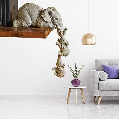 Set di statuette in resina Elephant Sitter con elefante, statuetta in resina, statuetta a forma di elefante, da appendere a mano, decorazione per la casa