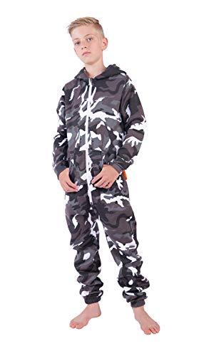 O'Poppy Kinder Jumpsuits Jungen Mädchen Overall Onsie Anzug mit Zwergen Kapuze (134-140, Camo Urban)