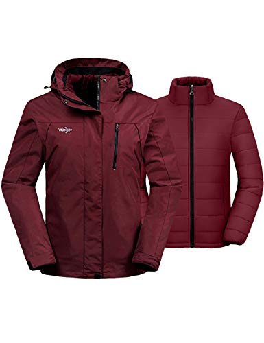 Wantdo Damen 3 in 1 Wasserdicht Skijacke Winddicht Winter Schneemantel Snowboardjacken Warm Regenmantel - Rot - Medium