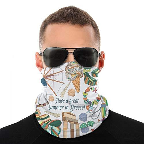 Headwear Unisex Travel Greece Summer Vacation Sunny Mykonos Miscellaneous Variety Face Towel Headbands Insert Carbon Filter Bandana Neck Gaiter Face Protector for Dust Outdoors