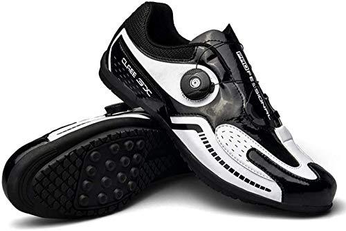 KUXUAN Calzado de Ciclismo para Hombre - Calzado de Bicicleta de Carretera,Zapatos de Bicicleta Ultraligeros con Hebilla de Doble Columna de Fibra de Carbono,Black-38EU=(240mm)