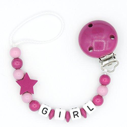 """Schnullerkette """"Mundspiel"""" mit Namen - Mädchen - pink - Geschenk zur Geburt oder Taufe (Girl)"""