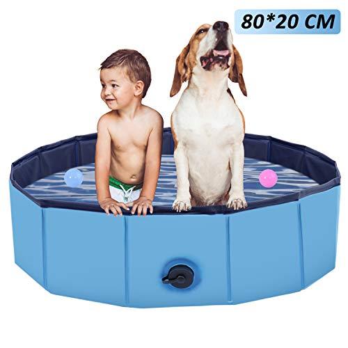 Faltbarer Hundepool, Haustier Faltbarer Swimmingpool, Planschbecken Hundebadewanne Swimmingpool für Hunde, Wasserteich Pool Kinderbecken zum Haustiere Schwimmen und Baden im Freien, Blau(80 * 20cm)