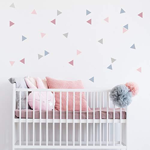 50 Triángulos nórdicos combinación rosa palo - Vinilos bebé