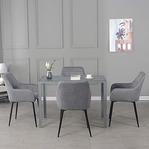 Panana Modern Gorgeous Glass Dinning Table with 4 Faux Leather Dining Arm Chairs (120cm Grey Table+4pcs Dark Grey armchairs)