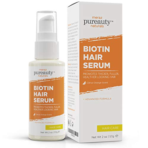 Biotin Hair Growth Serum Advanced Topical Formula To Help Grow Healthy, Strong Hair Suitable for Men and Women of All Hair Types Hair Loss Support By Pureauty Naturals (Biotin Orange)