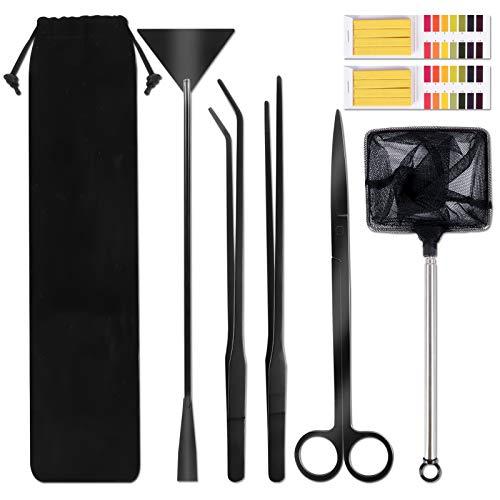 Ulikey Aquarium Werkzeug für Wasserpflanze, Edelstahl Aquarium Aquascaping Kit, 7 in 1 Aquarium Starter Kit Aquascaping-Werkzeuge mit Fischernetz und PH-Papier für Aquariumreinigung