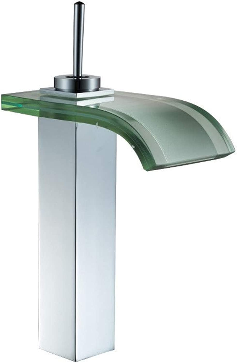 Oudan Mixing Hot and Cold Taps Bathroom Basin Faucet Plated Glass Waterfall Basin Faucet Mixer (color   -, Size   -)