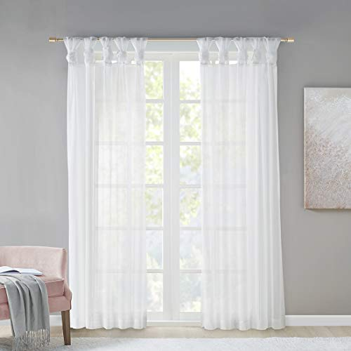 Gardinen Schals mit DIY-Twist-Tab Design Vorhänge Transparent Vorhang für große Fenster Ceres White (2er-Set, je 245x140cm)