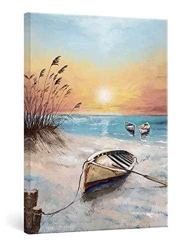 SUMGAR Cuadros en Lienzos Barco Junto al Mar de Atardecer Paisajes Playa Modernos Pinturas para Salón de Estar Dormitorio Decoración de Pasillo, 40 x 60 cm