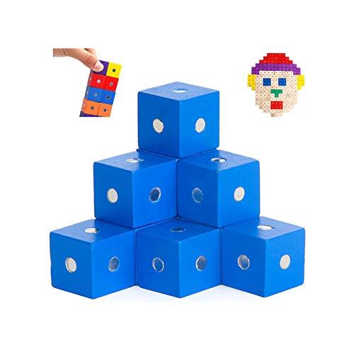 JMG 27 Pcs 0,7 Pulgadas Cubos de Madera Bloques de Madera para la artesanía de Madera, Cubos de Madera, Bloques de Madera (Colorido), 2cm,Azul