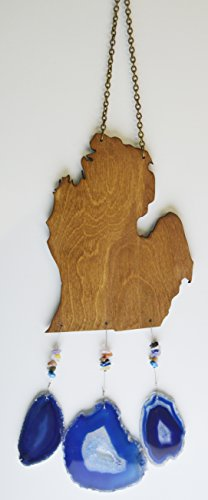 Michigan lower peninsula mitten wind chime Agate geode slice windchime wood stone sun catcher wind chime mobile window decor hanging