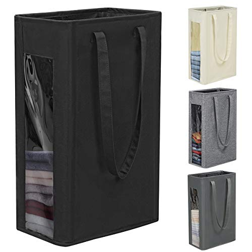 Chrislley 66L Slim Laundry Hamper Tall Laundry Basket Thin Laundry Hamper Visual Window Dirty Clothes Hamper with Handles Narrow Hampers for Laundry(Black)