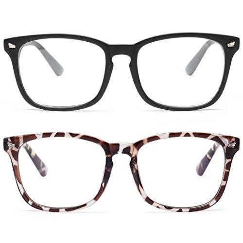 livho 2 Pack Blue Light Blocking Glasses, Computer Reading/Gaming/TV/Phones Glasses for Women Men,Anti Eyestrain & UV Glare (Matte Black+Leopord)
