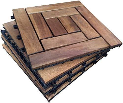 6 X Intrecciati In Legno Da Esterni In Legno Di Acacia, 5-10 Piastrelle, Slat Tile, Giardino, Patio, Terrazza, Hot Tub. Piano Quadrato, 30 Cm, Motivo: Piastrelle