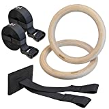 ALPIDEX wood gym rings gymnastic rings including door anchor and fastening loops