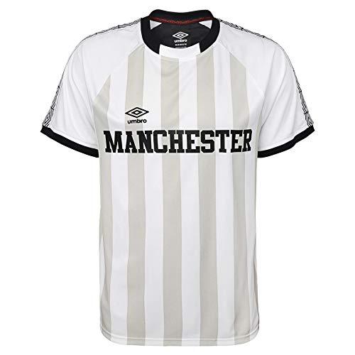 Umbro Men's Manchester United Vintage Soccer Jersey, White/Black Small