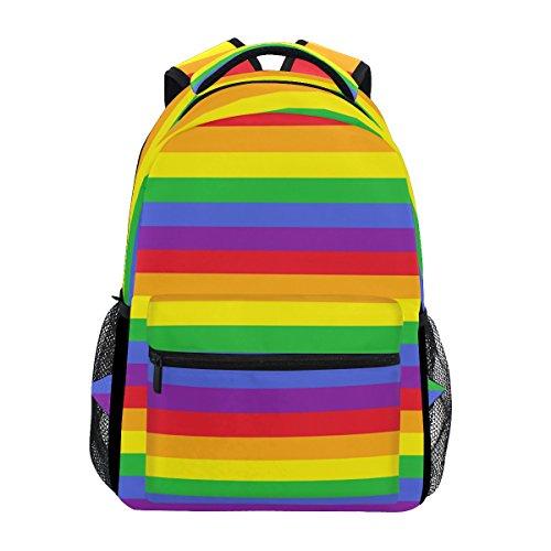 TIZORAX Rainbow Stripes Rucksack Schule College Tasche Schultasche Wandern Reise Rucksack für Damen Herren, Damen, Pattern-1, Einheitsgröße