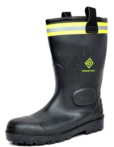 DREAM PAIRS Men's 0615W Water Proof Fur Interior Black Rubber Winter Snow Rain Boots 11 M US