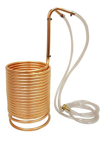 "NY Brew Supply Wort Chiller w/vinyl tubing attachments, 1/2"" x 50', Copper"