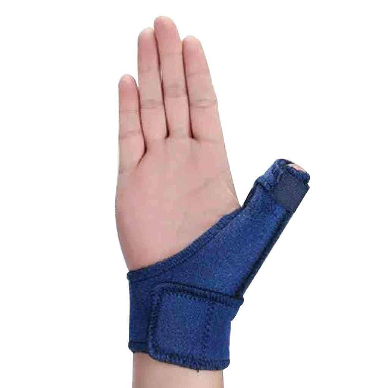 パトロールかりて昼食トリガーのための調節可能な親指スプリント親指リストストラップブレース親指スプリント親指関節炎痛み緩和ブレース(1個、ユニセックス、左&右の手青) Roscloud@