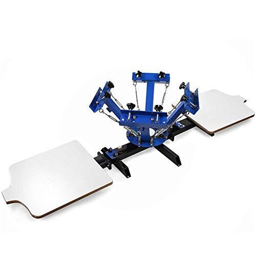 SmarketBuy Silk Screen Printing Machine 2 Station 4 Color Screen Printing for T-Shirt DIY (2 Station 4 Color)